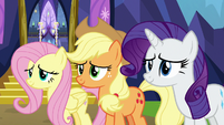 Fluttershy, AJ, and Rarity moved by Twilight's words S7E14