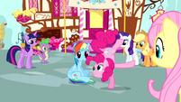 Pinkie Pie standing on one hoof S4E12