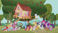 Ponies gather in front of the clubhouse S5E18