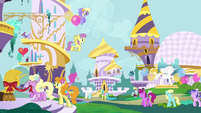 Ponies preparing for the Summer Sun Celebration S4E1