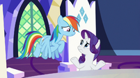 Rainbow and Rarity unsure of Pinkie's proverb S7E11