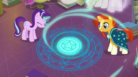 Starlight and Sunburst pour magic into the circle S7E1