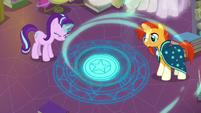 Starlight and Sunburst pour magic into the circle S7E1
