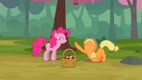Applejack begging Pinkie Pie for mercy S2E14