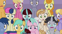 Ponies wide-eyed in shock and worry S9E17