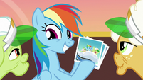 Rainbow Dash grinning at the grannies S8E5