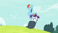 Rainbow and Rarity see the cloud wig disperse S7E19