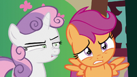 Sweetie Belle and Scootaloo cringing S9E23