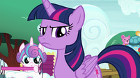 Twilight Sparkle looking annoyed at Spike S7E3