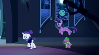 Twilight jumping over Spike S5E26