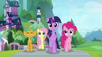 Twilight leading Fluttershy, Pinkie, and Snails S9E15