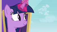 Twilight looking out at the clouds S8E25