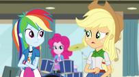 Rainbow and Applejack have their doubts EG2