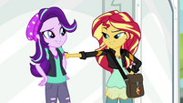 Sunset Shimmer lightly punches Starlight's arm EGS3