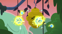 Flash bees swarming around their beehive S7E20