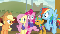 Fluttershy and Pinkie surrounded by friends S6E18