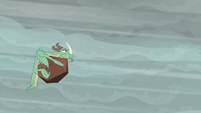 Green wrinkly dragon hit by boulder S6E5