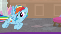Rainbow Dash searching the office S8E17