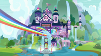 Rainbow flying to the School of Friendship S8E9