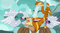Rockhoof and the Mighty Helm laugh together S7E16