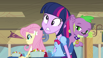 Spike smacks Twilight's head EG