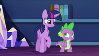 Twilight and Spike look at each other S5E22