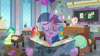 Twilight singing overtop Fluttershy's lesson S8E1