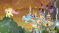 Fluttershy and RD chased by Sombrafied guards S9E2