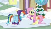 Fluttershy curious about Rainbow's questions MLPBGE