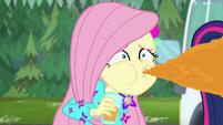 Fluttershy spitting out orange juice EGSBP