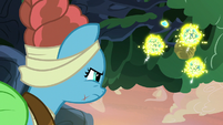 Meadowbrook looks up at the flash bee swarm S7E20