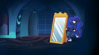 Princess Luna hides behind the dream mirror S7E10