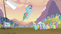 Rainbow Dash ordering the pegasi S2E22