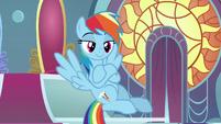 Rainbow crosses her hooves in amusement S9E2