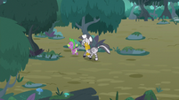 Spike and Zecora run into the trees S8E11