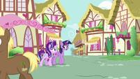 Twilight and Starlight walk through Ponyville S7E14
