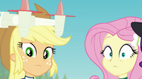 AJ and Fluttershy looking shocked at Sunset EGFF