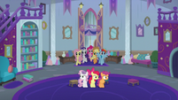 Main five enter Twilight Sparkle's office S8E12