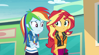 Rainbow Dash looking unsure at Sunset EGROF