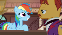 Rainbow gives hotel clerk a pleading look S6E13