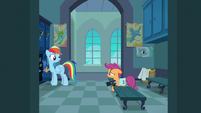 Scootaloo tearfully asks Rainbow Dash why S7E7