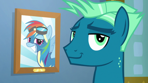 Sky Stinger smirking beside Rainbow's picture S6E24.png