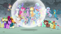 Unicorns levitate Mane Six and Spike to hilltop S9E25
