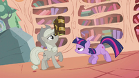 Applejack balancing the book on her nose S2E02
