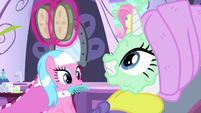 Cucumbers float off of Rarity's face MLPS1
