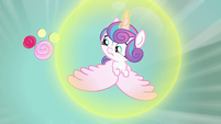 Flurry Heart flying away from cupcakes S7E3