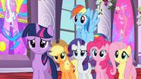 Main ponies listening to Celestia S02E01
