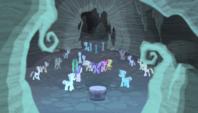 More zombie ponies surround the mane six S5E1