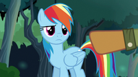 Quibble pointing his hoof at Rainbow Dash S6E13