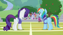Rarity and Dash look at Twilight and students S8E17